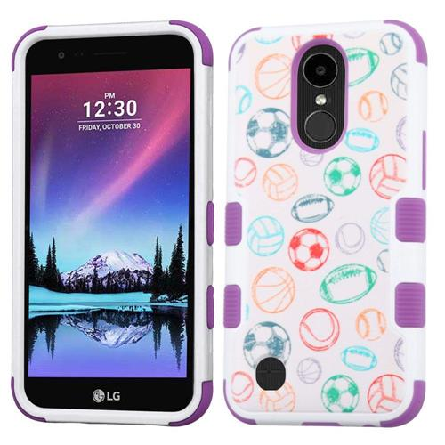 Insten Battle Of Balls Hard Rubberized Silicone Cover Case For LG Harmony/K20 Plus, White/Purple