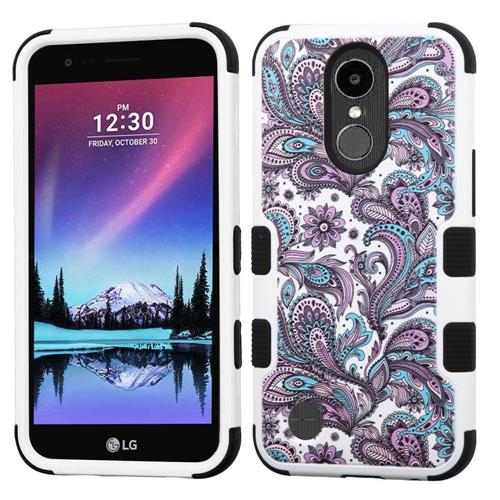 Insten Tuff European Flowers Hard Hybrid Rubber Silicone Cover Case For LG Harmony/K20 Plus - Purple