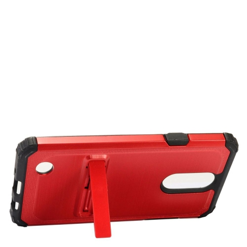 Insten Hard Dual Layer Silicone Case w/stand For LG Aristo/K8 (2017)/LV3 - Red/Black