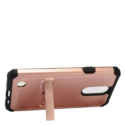 Insten Hard Hybrid Rubberized Silicone Case w/stand For LG Aristo/K8 (2017)/LV3, Rose Gold/Black