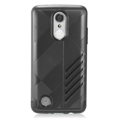 Insten Hard Dual Layer Rubberized Silicone Cover Case For LG Aristo/K8 (2017)/LV3 - Black