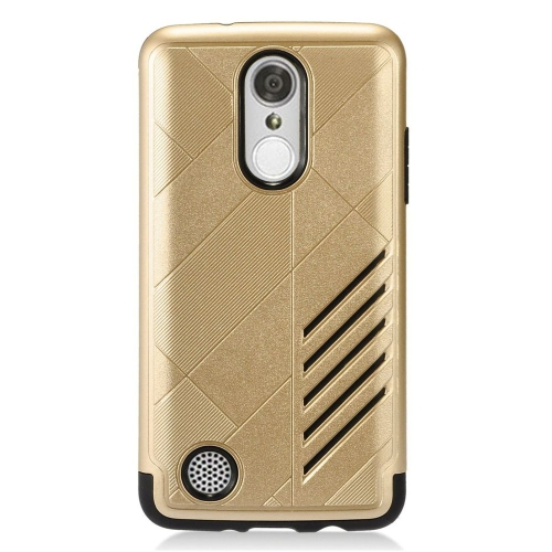 Insten Hard Dual Layer Rubberized Silicone Cover Case For LG Aristo/K8 (2017)/LV3 - Gold/Black