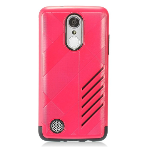 Insten Hard Dual Layer Rubber Coated Silicone Case For LG Aristo/K8 (2017)/LV3 - Hot Pink/Black