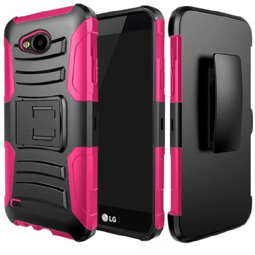 Insten Hard Hybrid Plastic Silicone Case w/Holster For LG X Venture, Black/Hot Pink