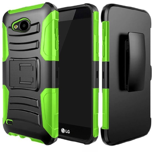 Insten Hard Hybrid Plastic Silicone Case w/Holster For LG X Venture, Black/Green