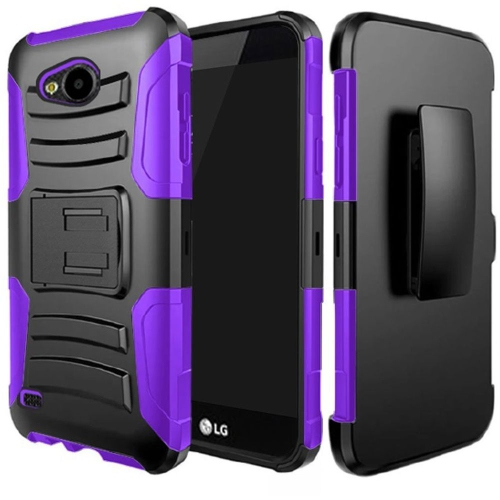 Insten Hard Dual Layer Plastic Silicone Case w/Holster For LG X Venture, Black/Purple