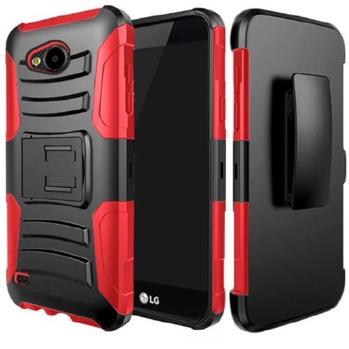 Insten Hard Dual Layer Plastic Silicone Cover Case w/Holster For LG X Venture, Black/Red