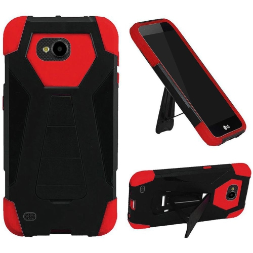 Insten Hard Dual Layer Plastic Silicone Case w/stand For LG X Venture, Black/Red
