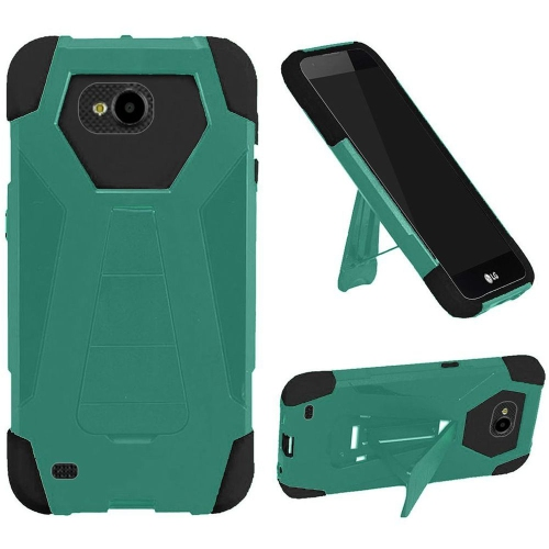Insten Hard Hybrid Plastic Silicone Cover Case w/stand For LG X Venture, Teal/Black
