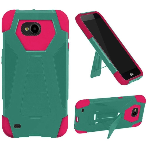 Insten Hard Hybrid Plastic Silicone Case w/stand For LG X Venture, Teal/Hot Pink
