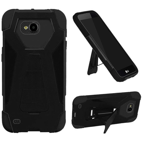 Insten Hard Hybrid Plastic Silicone Cover Case w/stand For LG X Venture, Black