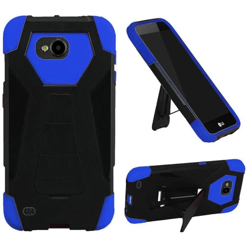 Insten Hard Hybrid Plastic Silicone Case w/stand For LG X Venture, Black/Blue