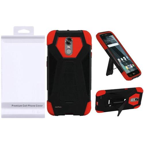 Insten Hard Dual Layer Plastic Silicone Case w/stand For LG Stylo 3/Stylo 3 Plus - Black/Red