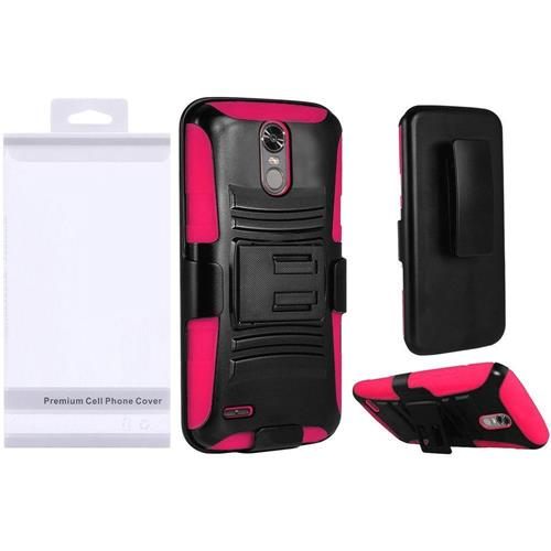 Insten Hard Hybrid Plastic Silicone Cover Case w/Holster For LG Stylo 3/Stylo 3 Plus, Black/Hot Pink
