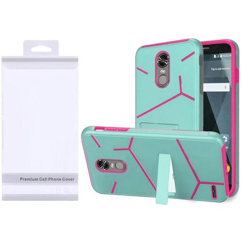 Insten Hard Dual Layer TPU Case w/stand For LG Stylo 3/Stylo 3 Plus - Teal/Hot Pink