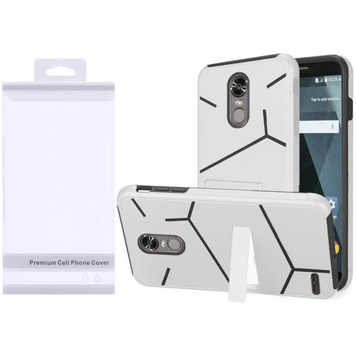 Insten Hard Dual Layer TPU Cover Case w/stand For LG Stylo 3/Stylo 3 Plus - White/Black