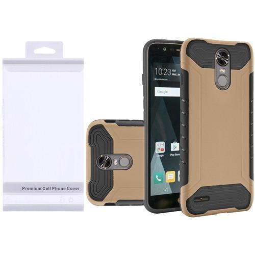 Insten Hard Dual Layer Rubber Coated Silicone Cover Case For LG Stylo 3/Stylo 3 Plus - Gold/Black