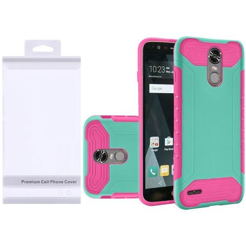 Insten Hard Hybrid Rubber Silicone Case For LG Stylo 3/Stylo 3 Plus - Teal/Hot Pink
