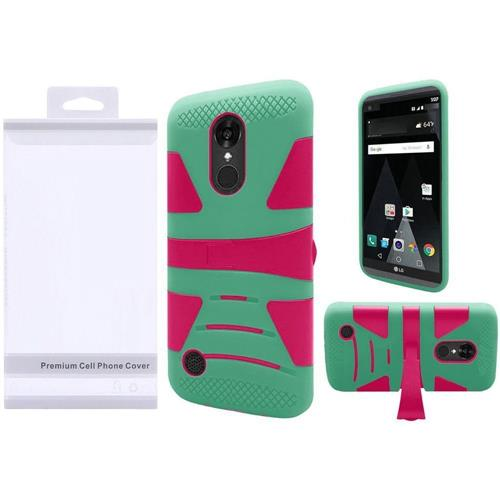Insten Hard Hybrid Silicone Case w/stand For LG Aristo/K8 (2017), Hot Pink/Teal