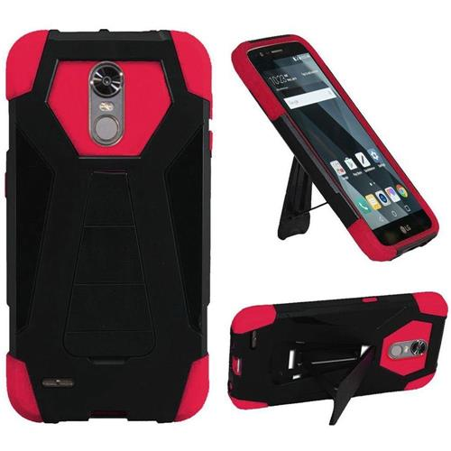 Insten Hard Hybrid Plastic Silicone Case w/stand For LG Stylo 3/Stylo 3 Plus - Black/Hot Pink