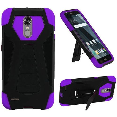 Insten Hard Dual Layer Plastic Silicone Cover Case w/stand For LG Stylo 3/Stylo 3 Plus, Black/Purple