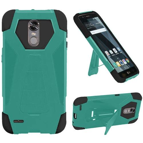 Insten Hard Hybrid Plastic Silicone Cover Case w/stand For LG Stylo 3/Stylo 3 Plus - Teal/Black