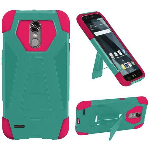 Insten Hard Hybrid Plastic Silicone Cover Case w/stand For LG Stylo 3/Stylo 3 Plus - Teal/Hot Pink