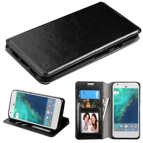 Insten Folio Leather Fabric Cover Case w/stand/card holder/Photo Display For Google Pixel XL - Black