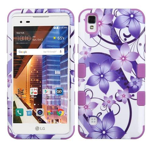 Insten Hibiscus Flower Romance Hybrid Rubber Silicone Case For LG Tribute HD/X STYLE, Purple/White