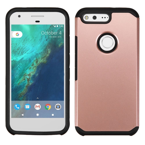 Insten Hard Dual Layer Silicone Cover Case For Google Pixel - Rose Gold/Black
