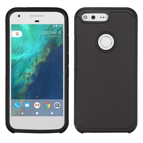 Insten Hard Hybrid Rubberized Silicone Cover Case For Google Pixel - Black