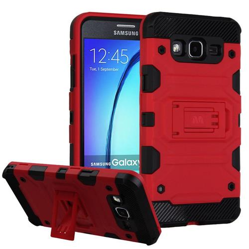 Insten Hard Hybrid TPU Cover Case w/stand For Samsung Galaxy On5 - Red/Black