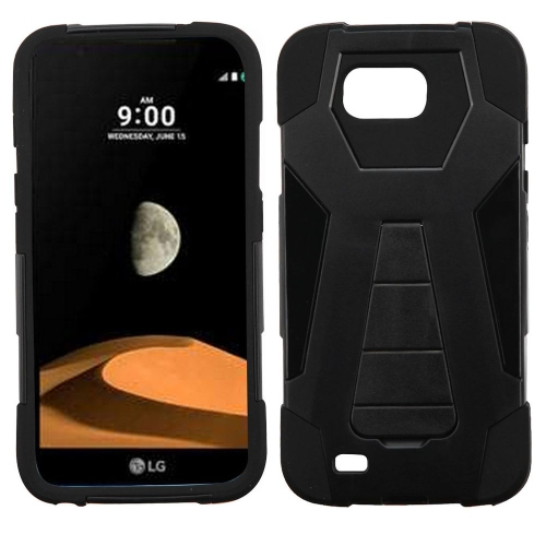 Insten Hard Dual Layer Plastic Silicone Cover Case w/stand For LG V9 - Black