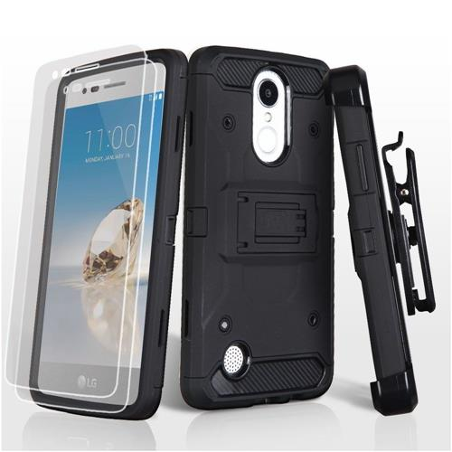 Insten Hard Hybrid TPU Case w/Holster/Installed For LG Aristo/Fortune/K8 (2017)/LV3/Phoenix 3, Black