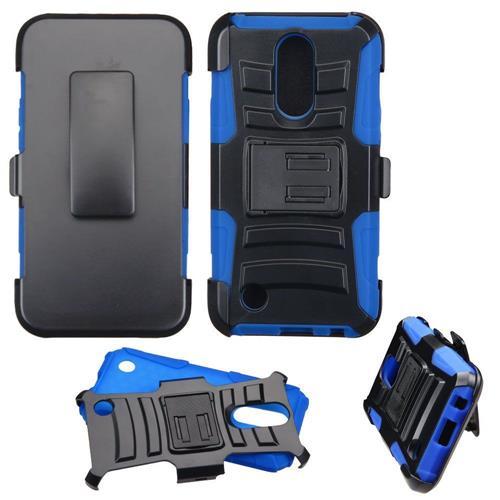Insten Hard Hybrid Plastic Silicone Case w/Holster For LG K20 Plus/V5 - Black/Blue