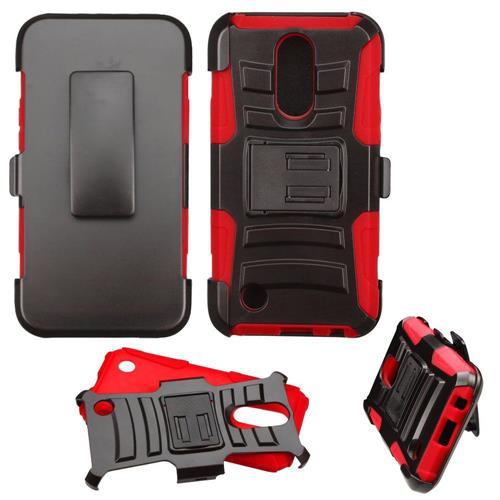 Insten Hard Hybrid Plastic Silicone Cover Case w/Holster For LG K20 Plus/V5 - Black/Red