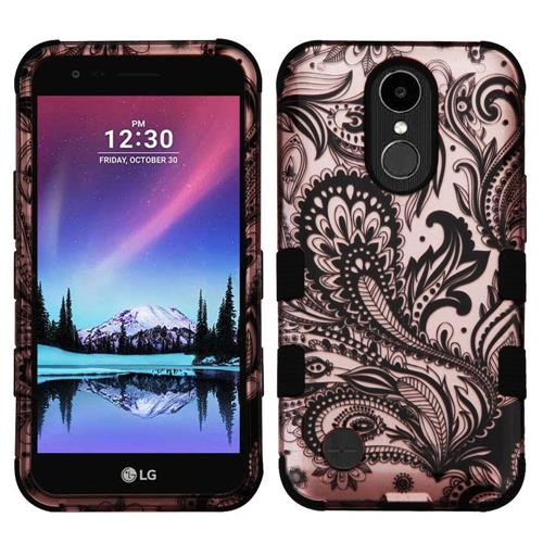 Insten Phoenix Flower Hard Hybrid Rubber Silicone Case w/Holster For LG K20 Plus/V5, Rose Gold/Black