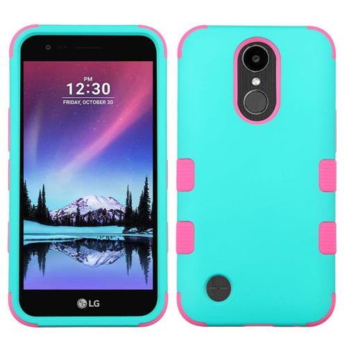 Insten Hard Hybrid Rubber Coated Silicone Cover Case w/Holster For LG K20 Plus/V5, Teal/Hot Pink
