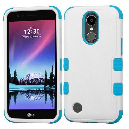 Insten Tuff Hard Hybrid Rubber Coated Silicone Cover Case w/Holster For LG K20 Plus/V5 - White/Blue