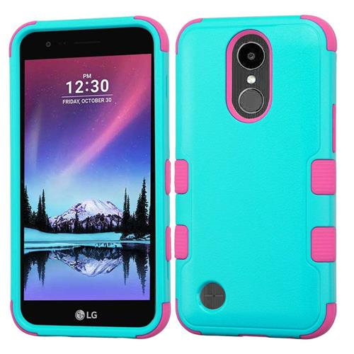Insten Tuff Hard Hybrid Silicone Cover Case w/Holster For LG K20 Plus/V5 - Teal/Hot Pink