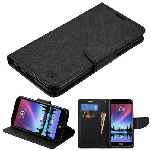 Insten Book-Style Leather Fabric Case w/stand/card holder For LG K20 Plus/V5 - Black