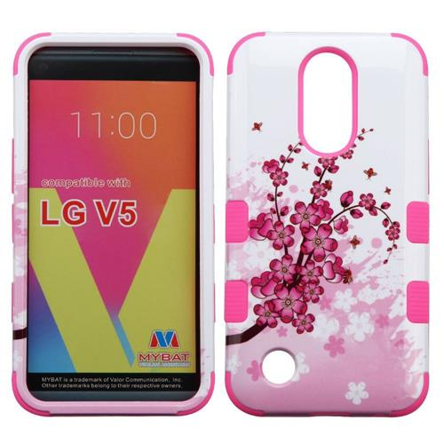 Insten Spring Flowers Hard Rubberized Silicone Case w/Holster For LG K20 Plus/V5, Pink/White