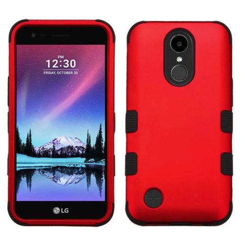 Insten Tuff Hard Dual Layer Rubber Silicone Case w/Holster For LG K20 Plus/V5 - Red/Black