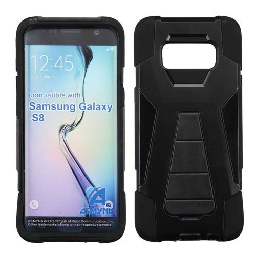 Insten Hard Hybrid Plastic Silicone Case w/stand For Samsung Galaxy S8 - Black