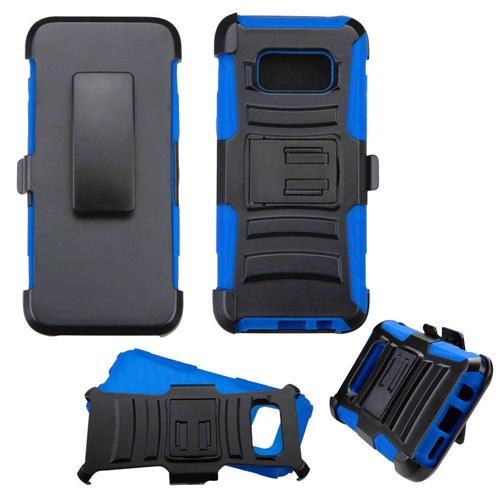 Insten Hard Hybrid Plastic Silicone Cover Case w/Holster For Samsung Galaxy S8 - Black/Blue