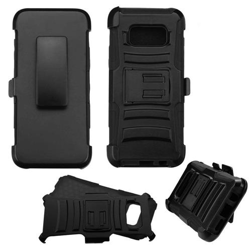 Insten Hard Hybrid Plastic Silicone Cover Case w/Holster For Samsung Galaxy S8 - Black