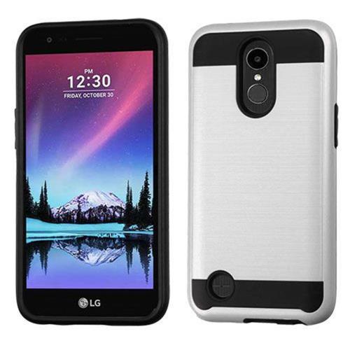 Insten Hard Dual Layer TPU Case For LG K20 Plus/V5 - Silver/Black