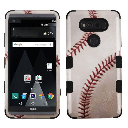 Insten Tuff Baseball Hard Dual Layer Rubber Coated Silicone Case For LG V20 - White/Red