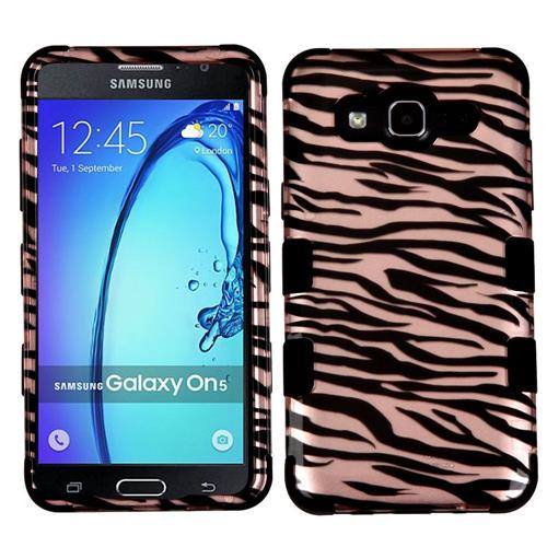 Insten Zebra Hard Hybrid Rubber Coated Silicone Cover Case For Samsung Galaxy On5, Rose Gold/Black