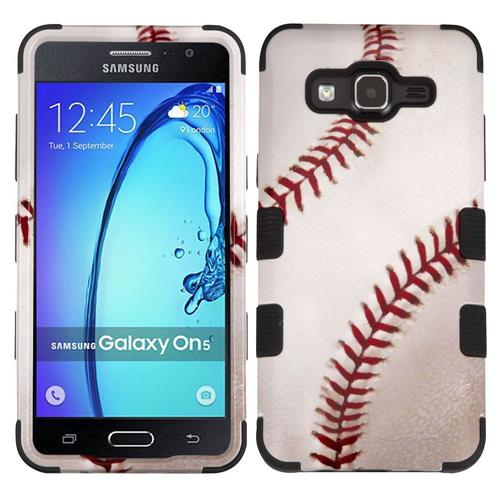 Insten Tuff Baseball Hard Hybrid Rubberized Silicone Cover Case For Samsung Galaxy On5 - White/Red